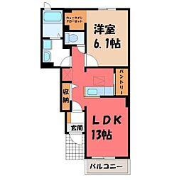 栃木県栃木市薗部町1丁目の賃貸アパートの間取り