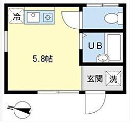 東急目黒線 不動前駅 徒歩5分の賃貸アパート 1階ワンルームの間取り