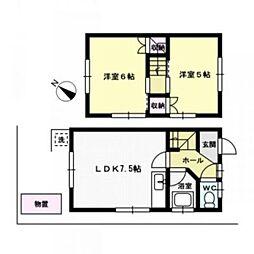 フジサキアパート[1階]の間取り