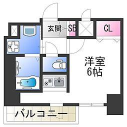 スプランディッド難波元町DUE 8階ワンルームの間取り