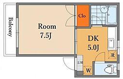 ヴァンベール三鷹 2階1DKの間取り