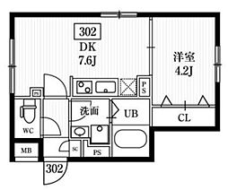エルファーロ神楽坂 4階1DKの間取り