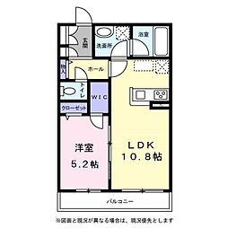 グランヴァリエ五色月 3階1LDKの間取り