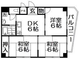 ニューライフ木田[4階]の間取り