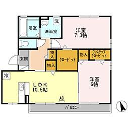 愛知県豊橋市柱三番町の賃貸アパートの間取り