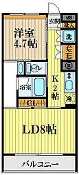 西武国分寺線 恋ヶ窪駅 徒歩13分の賃貸マンション 2階1LDKの間取り