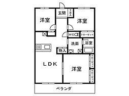 アベニールKAI[402号室]の間取り