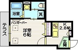 JR京浜東北・根岸線 蒲田駅 徒歩10分の賃貸マンション 1階1Kの間取り