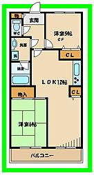 京王相模原線 京王多摩川駅 徒歩10分の賃貸マンション 2階2LDKの間取り