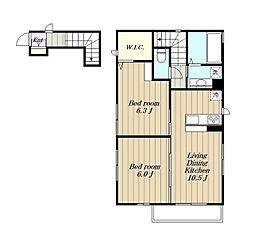 (仮)D-room木曽西A棟[2階]の間取り