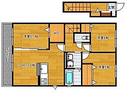 小郡新築アパート B棟[202号室]の間取り