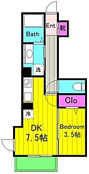 仮)D-room宿河原 2階1DKの間取り