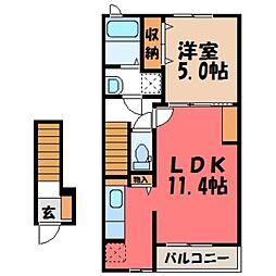 栃木県小山市犬塚2の賃貸アパートの間取り