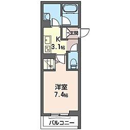 仮)幸区柳町シャーメゾン 2階1Kの間取り