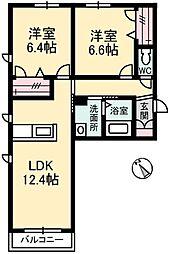 岡山県倉敷市福田町福田の賃貸アパートの間取り