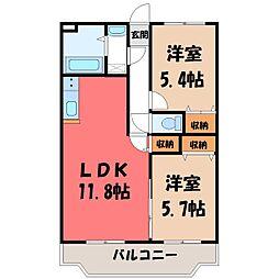 ユーミーグレース II 2階2LDKの間取り