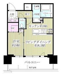 品川イーストシティタワー 7階1LDKの間取り