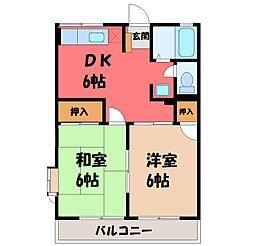 栃木県宇都宮市泉が丘6丁目の賃貸アパートの間取り