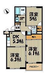 横浜上郷ハイツ[101号室]の間取り
