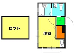 神奈川県横浜市鶴見区鶴見中央2の賃貸アパートの間取り