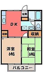 栃木県宇都宮市宝木町2の賃貸アパートの間取り