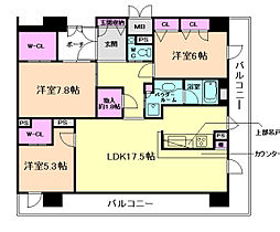サニープレイス大阪港 13階3LDKの間取り
