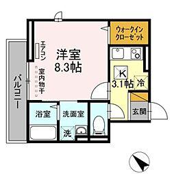 JR総武線 幕張本郷駅 徒歩10分の賃貸アパート 1階1Kの間取り