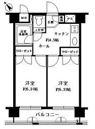 キャンパスシティ箱崎[7階]の間取り