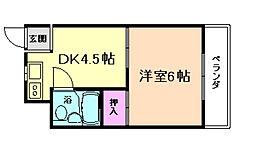 大阪府豊中市曽根西町2丁目の賃貸マンションの間取り