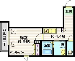 JR京浜東北・根岸線 蒲田駅 徒歩10分の賃貸マンション 3階1Kの間取り