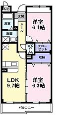 南海高野線 萩原天神駅 徒歩4分の賃貸マンション 3階2LDKの間取り