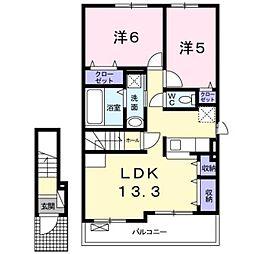 大阪府松原市立部2丁目の賃貸アパートの間取り