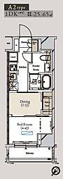 都営大江戸線 月島駅 徒歩1分の賃貸マンション 12階1DKの間取り
