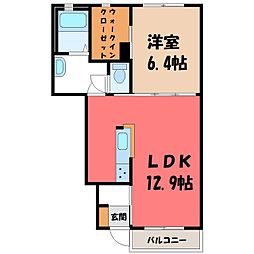 ウエル I 1階2LDKの間取り