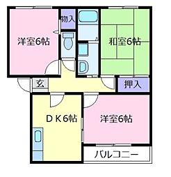 コートグランメールA棟[2階]の間取り