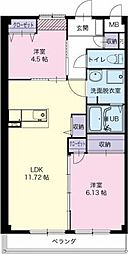愛知県稲沢市長野3丁目の賃貸アパートの間取り