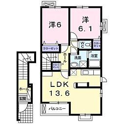 東武野田線 大和田駅 徒歩21分の賃貸アパート 2階2LDKの間取り