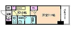 JR東西線 海老江駅 徒歩7分の賃貸マンション 9階1Kの間取り