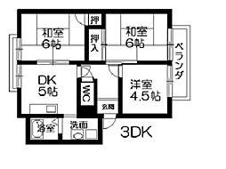 ガーデンシティハイツA〜E棟[1階]の間取り