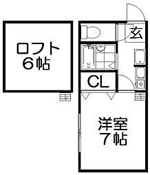 ハイツ翠明[2階]の間取り