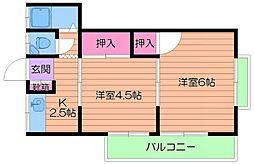テラダマンション一号館 3階2Kの間取り