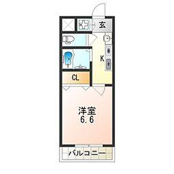 JR阪和線 我孫子町駅 徒歩5分の賃貸マンション 4階1Kの間取り