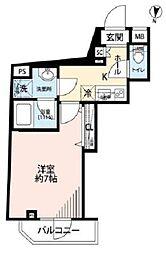 プレール・ドゥーク三宿 2階1Kの間取り