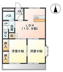 愛知県豊田市堤本町住吉の賃貸アパートの間取り