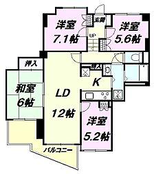 東京都八王子市散田町5丁目の賃貸マンションの間取り
