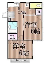 東京都大田区南馬込2丁目の賃貸アパートの間取り
