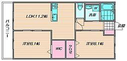 福岡県福岡市東区若宮3丁目の賃貸アパートの間取り