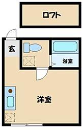 多摩都市モノレール 大塚・帝京大学駅 徒歩9分の賃貸アパート 1階ワンルームの間取り