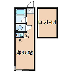 神奈川県横浜市保土ケ谷区霞台の賃貸アパートの間取り