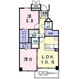 神奈川県横浜市青葉区あかね台2丁目の賃貸マンションの間取り